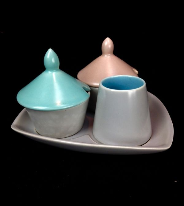 Poole Pottery Twintone Tableware Condiment Set On Plate / Retro